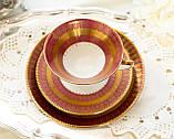 Антикварная немецкая чайная тройка, чашка, блюдце, тарелка, фарфор, Германия, Roslau, фото 2