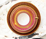 Антикварная немецкая чайная тройка, чашка, блюдце, тарелка, фарфор, Германия, Roslau, фото 3
