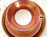 Антикварная немецкая чайная тройка, чашка, блюдце, тарелка, фарфор, Германия, Roslau, фото 4