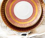 Антикварная немецкая чайная тройка, чашка, блюдце, тарелка, фарфор, Германия, Roslau, фото 6