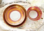Антикварная немецкая чайная тройка, чашка, блюдце, тарелка, фарфор, Германия, Roslau, фото 7