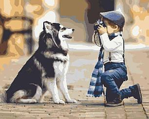 Картины по номерам -Хаски и малыш   Riviera Blanca™ 40х50 см.   RB-0037