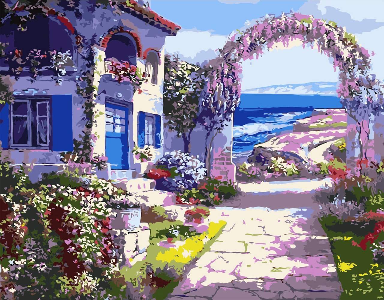 Картина по номерам VA-0481 Дом с цветами, 40х50см. Strateg