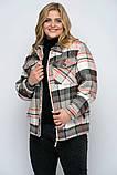 Куртка утеплена Сандра в клітку беж, фото 4
