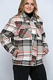 Куртка утеплена Сандра в клітку беж, фото 6