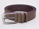 Мужской классический кожаный ремень бежевый, фото 2