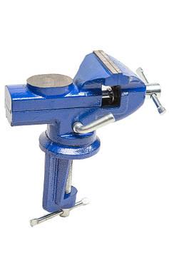 Тиски поворотные 60 мм, с наковальней. Рельефные губки, антикоррозийная покраска HTools, 07K206