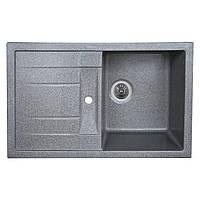 Кухонная гранитная мойка врезная 780*500 PRETSO глянец Platinum серый-металлик