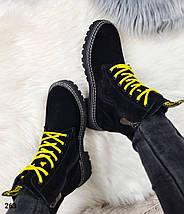 Теплые зимние женские ботинки на высокой подошве с яркими шнурками  LS-263, фото 3