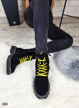 Теплые зимние женские ботинки на высокой подошве с яркими шнурками  LS-263, фото 2