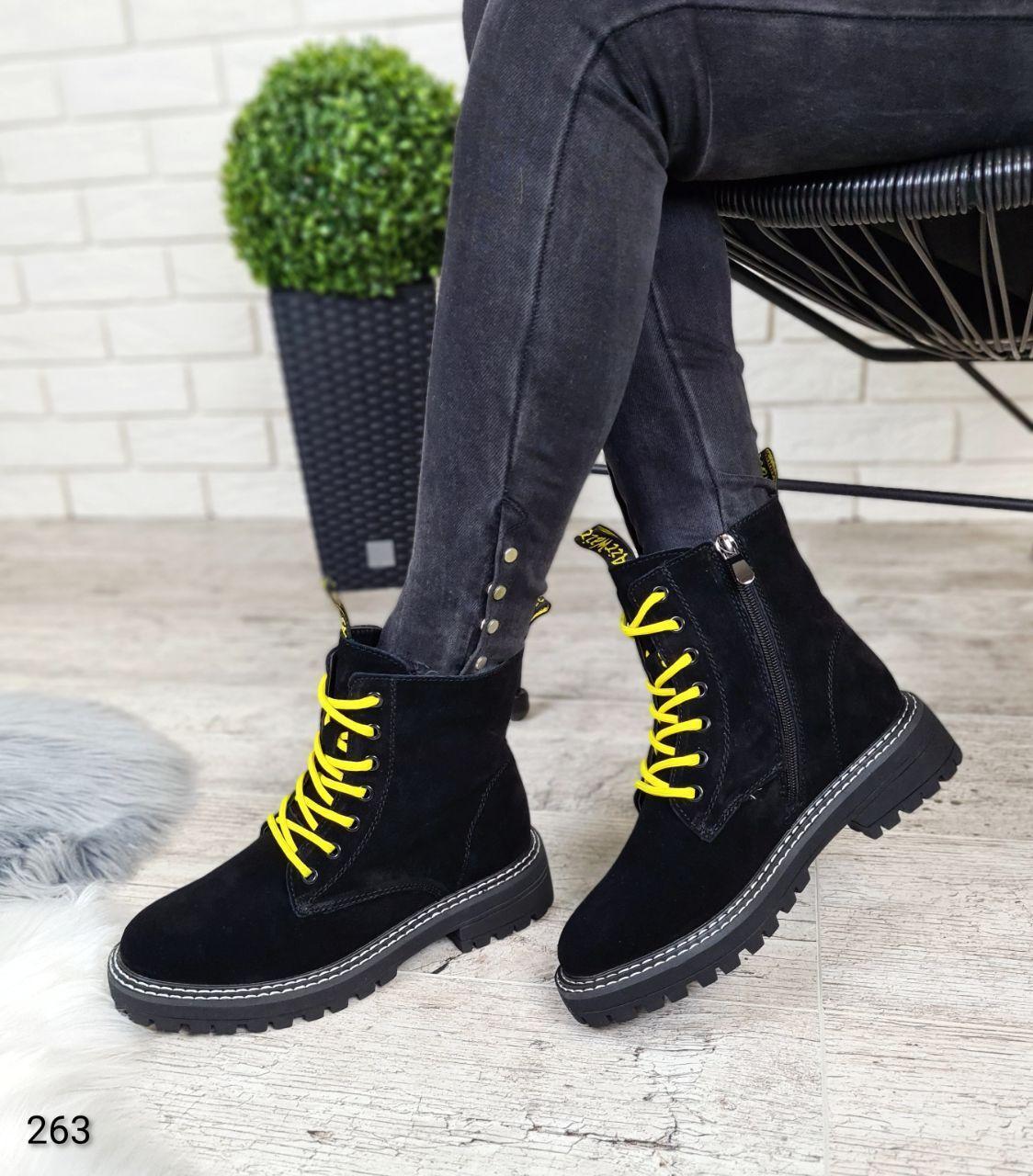 Теплые зимние женские ботинки на высокой подошве с яркими шнурками  LS-263