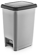 Ведро мусорное Slim  с педалью DUNYA PLASTIK ТУРЦИЯ (22,5х31х40 см) 15 л. 01042
