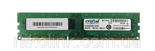 Память Crucial DDR3 4GB PC3-12800U (1600Mhz) (CT51264BA160B.C16FKD)(8x2), б/у