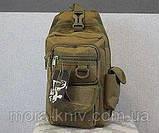 Тактический, штурмовой однолямочный рюкзак Silver Knight 9 л рюкзак на одно плечо Coyote (099-coyote), фото 3
