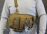 Тактический, штурмовой однолямочный рюкзак Silver Knight 9 л рюкзак на одно плечо Coyote (099-coyote), фото 4