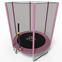 Батут детский с защитной сеткой 140 см FitToSky розовый, фото 1