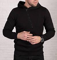 Мужская теплая толстовка с косой молнией , черного цвета, фото 2