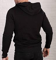 Мужская теплая толстовка с косой молнией , черного цвета, фото 3