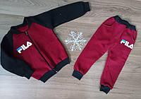 Спортивный костюм на молнии без капюшона на флисе для мальчика на р 28-36, фото 1