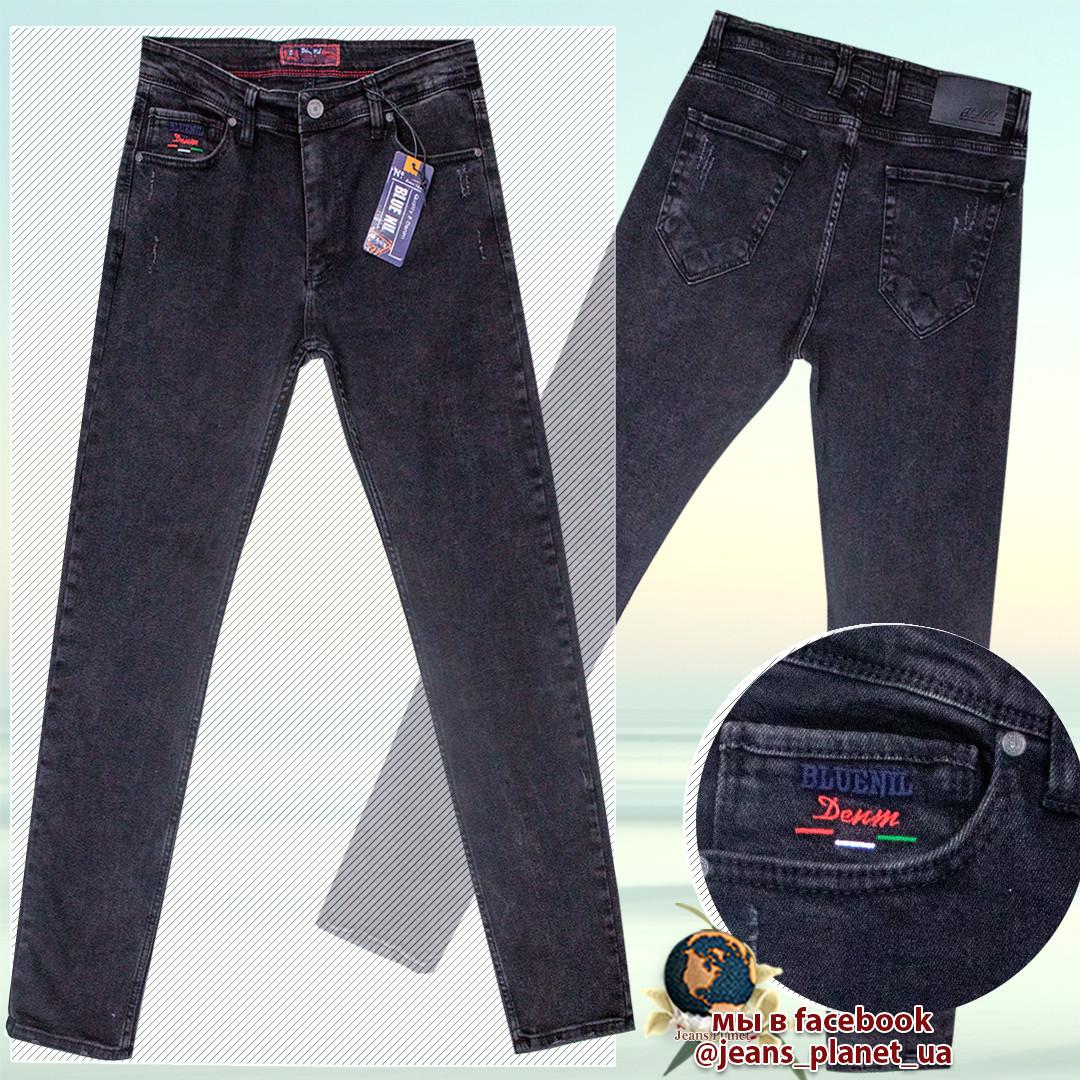 Джинсы мужские модные зауженные тёмно-серого цвета Blue Nil