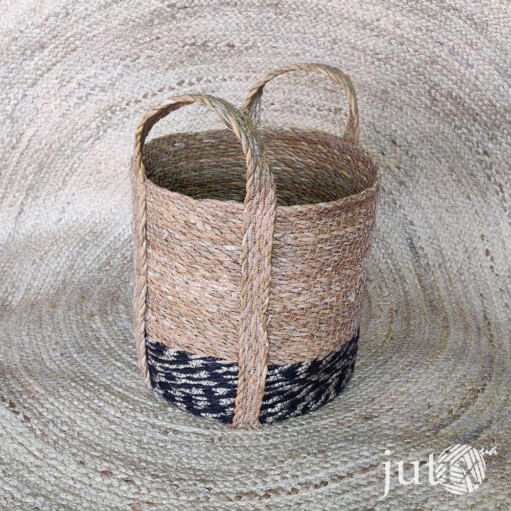 Корзина плетеная круглая (хогла + джут)