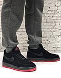 Зимние мужские кроссовки Nike Air Force Low с мехом черные с красным  замш. Фото в живую. Топ реплика, фото 3