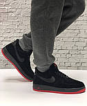 Зимние мужские кроссовки Nike Air Force Low с мехом черные с красным  замш. Фото в живую. Топ реплика, фото 2