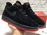 Зимние мужские кроссовки Nike Air Force Low с мехом черные с красным  замш. Фото в живую. Топ реплика, фото 7