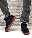 Зимние мужские кроссовки Nike Air Force Low с мехом черные с красным  замш. Фото в живую. Топ реплика, фото 4