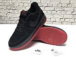 Зимние мужские кроссовки Nike Air Force Low с мехом черные с красным  замш. Фото в живую. Топ реплика, фото 9