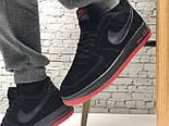 Зимние мужские кроссовки Nike Air Force Low с мехом черные с красным  замш. Фото в живую. Топ реплика, фото 6