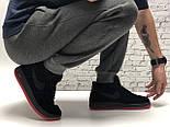Зимние мужские кроссовки Nike Air Force Low с мехом черные с красным  замш. Фото в живую. Топ реплика, фото 5