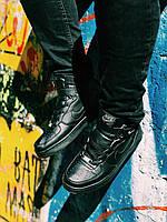 Кроссовки черные высокие Найк Аир Форс, фото 1
