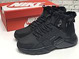 Зимние мужские кроссовки Nike Huarache X Acronym City Winter black с мехом теплые черные. Живое фото. Реплика, фото 8
