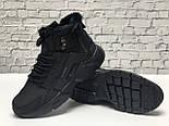 Зимние мужские кроссовки Nike Huarache X Acronym City Winter black с мехом теплые черные. Живое фото. Реплика, фото 9