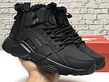 Зимние мужские кроссовки Nike Huarache X Acronym City Winter black с мехом теплые черные. Живое фото. Реплика, фото 7