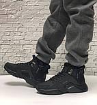 Зимние мужские кроссовки Nike Huarache X Acronym City Winter black с мехом теплые черные. Живое фото. Реплика, фото 6