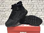Зимние мужские кроссовки Nike Huarache X Acronym City Winter black с мехом теплые черные. Живое фото. Реплика, фото 10