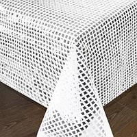 """Клеенка в рулоне Stenson """"LACE"""" размер 1,32х22м, белая сетка, клеенка на стол, рулон клеенки, кленка для стола"""