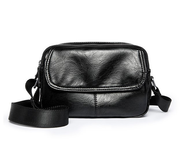 Сумка через плечо черная сумка много карманов и отделений несколько замков - 223-05