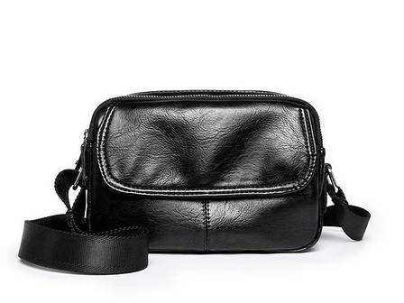 Сумка через плечо черная сумка много карманов и отделений несколько замков - 223-05, фото 2