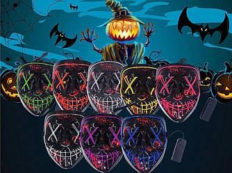 """Неоновая LED маска для вечеринок """"Судная ночь"""" фиолетовая"""
