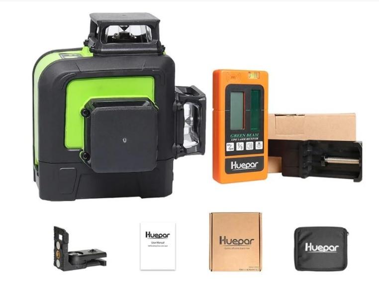 Лазерный уровень Huepar HP-903CG с зелёными лучами + ПРИЕМНИК ЛУЧА