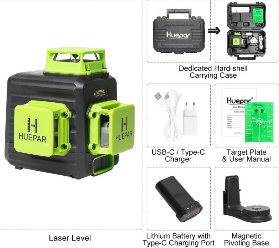 ПРОФІ Лазерний нівелір Huepar B03CG зелений промінь