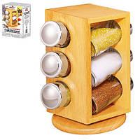 """Спецовница на деревянной подставке """"Woody""""в наборе 6шт, размер 13,5х13,5х20,5см, посуда для специй,"""