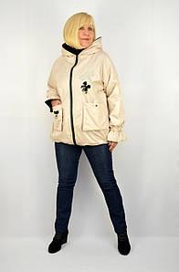 Куртка плащевка на молнии с карманами и капюшоном бежевая - Модель Даля
