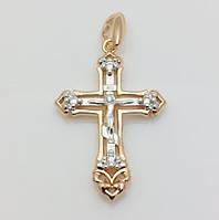Крест нательный 96201160-01, высота 29 мм ширина 21 мм, позолота+ родий