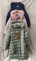 Куртка Зима на девочку удлинённая с мехом