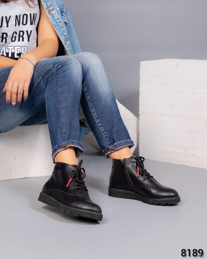 Деми ботинки кожаные черные