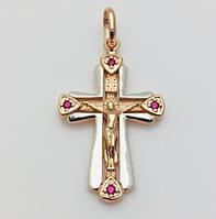Крест нательный 96201157-67, высота 29 мм ширина 20 мм, позолота+ родий